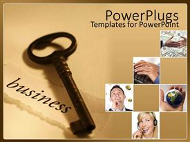 PowerPlugs: PowerPoint template with a key along with various pictures in boxes