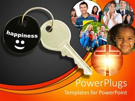 PowerPlugs: PowerPoint template with key to happiness metaphor with Christian cross, families, children, students and professionals