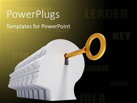 PowerPlugs: PowerPoint template with a key inside keyhole with yellowish background and place for text