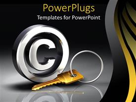 PowerPoint template displaying a key in a key chain with grayish background