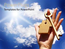 PowerPlugs: PowerPoint template with a key with a keychain and clouds in the background