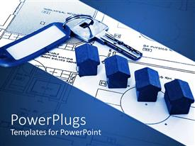 PowerPlugs: PowerPoint template with a key with a keychain and houses