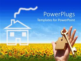 PowerPlugs: PowerPoint template with a key in a keychain with sunflowers in the background