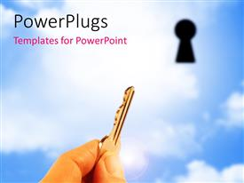 PowerPlugs: PowerPoint template with a key with a keyhole and cloud sin the background
