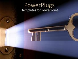 PowerPlugs: PowerPoint template with a key with a keyhole and light coming out of it