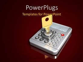 PowerPlugs: PowerPoint template with a key in the keyhole with a machine