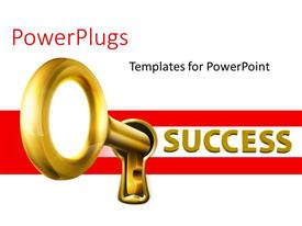 PowerPlugs: PowerPoint template with a key in a keyhole of success