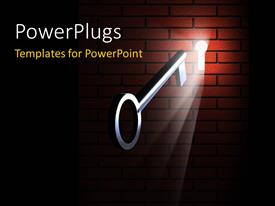PowerPlugs: PowerPoint template with a key in the keyhole in a wall