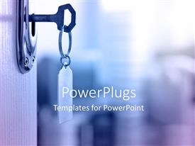 PowerPoint template displaying key with keyring to unloack and open door
