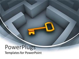 PowerPlugs: PowerPoint template with a key in a labyrinth with grayish background