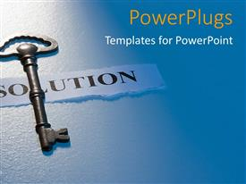 PowerPlugs: PowerPoint template with a key with a solution chit and bluish background