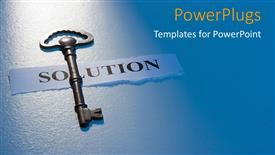 PowerPoint template displaying a key with a solution chit and bluish background