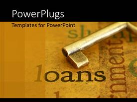 PowerPlugs: PowerPoint template with a close up view of a key on a surface with some text