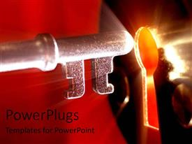 PowerPlugs: PowerPoint template with key to the lock glowing solution problem problem solving red light