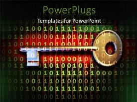 PowerPlugs: PowerPoint template with a key with a lot of binary numbers and reddish background