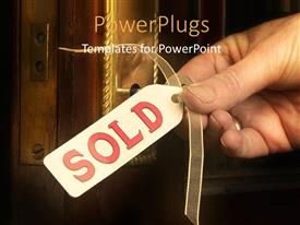 PowerPlugs: PowerPoint template with key to new home concept of buying or selling houses and black color