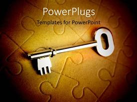 PowerPlugs: PowerPoint template with a key with a number of puzzle pieces in the background