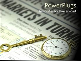 PowerPoint template displaying a key and a pocket watch