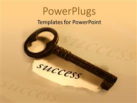 PowerPlugs: PowerPoint template with a key with skin color background and place for text