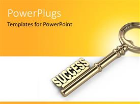 PowerPlugs: PowerPoint template with a close up view of a gold colored key and some text on it