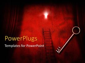 PowerPlugs: PowerPoint template with a key with a ladder and a stage