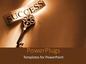 PowerPoint template displaying a key to success with brownish background