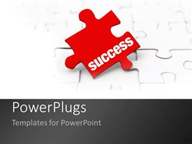 PowerPlugs: PowerPoint template with the key to success as a metaphor missing red puzzle piece on a white background