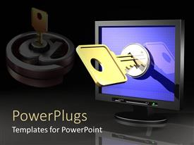 PowerPlugs: PowerPoint template with key unlocking work station, network security, password protection