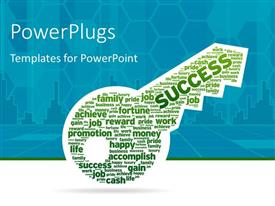 PowerPlugs: PowerPoint template with key with the word Success and various other keywords on blue background