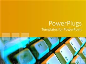 PowerPoint template displaying keyboard artwork with gradient yellow background