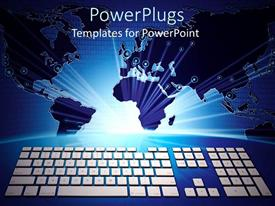 PowerPlugs: PowerPoint template with keyboard below glowing world map with binary background, IT
