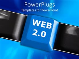 PowerPlugs: PowerPoint template with a keyboard button with bluish background and place for text