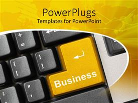 PowerPlugs: PowerPoint template with keyboard close up with yellow enter button written business