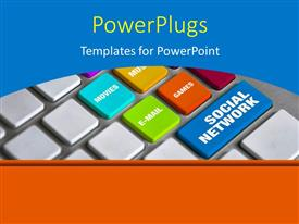 PowerPlugs: PowerPoint template with a keyboard with different buttons and a bluish background
