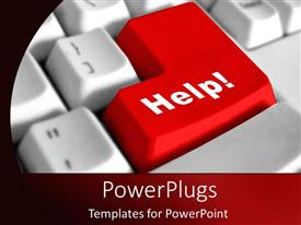 PowerPlugs: PowerPoint template with keyboard with help key to success as a metaphor on red background
