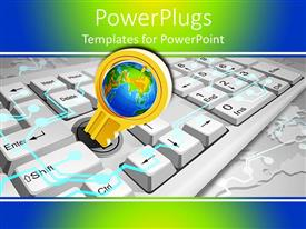 PowerPoint template displaying a keyboard with a keyhole and global background