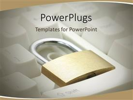 PowerPlugs: PowerPoint template with a keyboard with a lock and brownish background