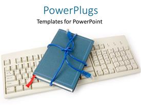 PowerPoint template displaying a keyboard with a notebook with white background
