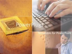 PowerPlugs: PowerPoint template with a keyboard, processor and person listening telephone in the background