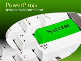 PowerPlugs: PowerPoint template with a keyboard with a success button
