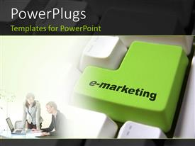 PowerPlugs: PowerPoint template with a keyboard with the word emarketing on the enter button