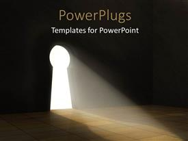 PowerPlugs: PowerPoint template with a keyhole with a lot of light coming through it