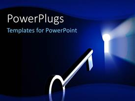 PowerPlugs: PowerPoint template with light rays shinning through a key hole with a metal key