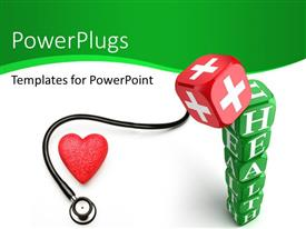 PowerPoint template displaying keyword Health written on green dices with stethoscope and red color medical symbol
