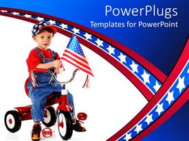 PowerPoint template displaying a kid with an American flag on his bicycle