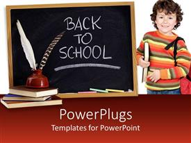 PowerPoint template displaying a kid with a bag and a book