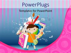 PowerPlugs: PowerPoint template with a kid with a bag and a lot of books with lines in the background