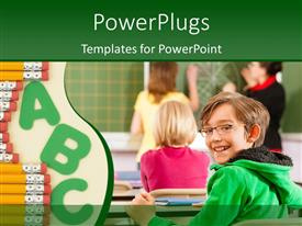PowerPlugs: PowerPoint template with a kid being happy in class