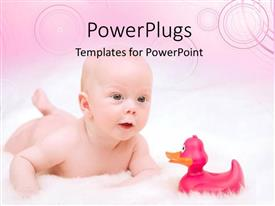 PowerPlugs: PowerPoint template with a kid being happy to see a duck