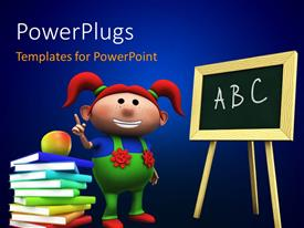 PowerPlugs: PowerPoint template with a kid and a blackboard with a lot of books